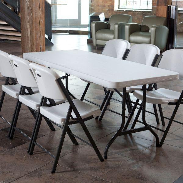 Awe Inspiring Lifetime 5 Fold In Half Table 1Pc Folding Chair White 4Pcs Download Free Architecture Designs Rallybritishbridgeorg